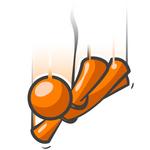 Clip Art Graphic of an Orange Guy Character Free Falling With His Arms Out While Sky Diving