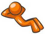 Clip Art Graphic of an Orange Guy Character With His Hands Behind His Head, Doing Sit Ups In The Fitness Gym