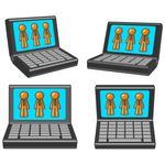 Clip Art Graphic of Orange Guy Characters Displayed On Laptop Computer Monitors