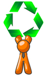 Clip Art Graphic of an Orange Guy Character In A Business Tie, Holding Green Recycle Arrows Above His Head