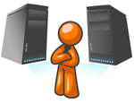 Clip Art Graphic of an Orange Guy Character Standing In Front Of Powerful Computer Serer Towers