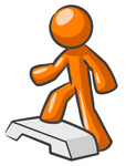 Clip Art Graphic of an Orange Guy Character Stepping Up Onto A Fitness Platform