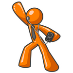 Clip Art Graphic of an Orange Guy Character Dancing And Listenting To Tunes On An Mp3 Player