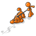 Clip Art Graphic of an Orange Guy Character Trying To Pull Back A Bloodhound Dog Sniffing After Money