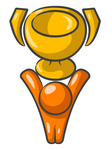 Clip Art Graphic of an Orange Guy Character Displaying A Golden Trophy Cup Above His Head