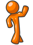 Clip Art Graphic of an Orange Guy Character Flexing His Strong Arms