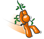 Clip Art Graphic of an Orange Guy Character Swinging Past On A Strong Vine