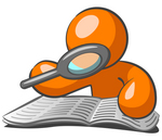 Clip Art Graphic of an Orange Guy Character Reading Through A Book With A Magnifying Glass