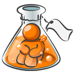 Clip Art Graphic of an Orange Guy Character Sitting In Bubbly Liquid, Trapped Inside A Beaker In A Science Lab
