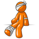 Clip Art Graphic of an Orange Guy Character Injured And Bandaged On The Head, Elbow And Ankle