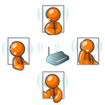 Clip Art Graphic of Orange Guy Characters Holding A Wireless Meeting And Wearing Headsets