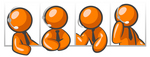 Clip Art Graphic of an Orange Guy Character In Four Different Poses, Wearing A Business Tie And Talking On A Headset