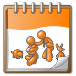 Clip Art Graphic of an Orange Guy Character With His Family And Pets On A Notepad