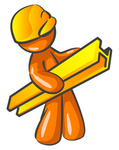 Clip Art Graphic of an Orange Guy Character Carrying A Beam Through A Construction Site