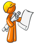 Clip Art Graphic of an Orange Guy Character Holding Architectural Design Blueprints And Scrolls