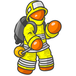 Clip Art Graphic of an Orange Guy Character Fireman In A Yellow Safety Suit, Waving