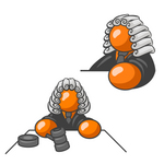 Clip Art Graphic of an Orange Guy Character Judge Wearing Wig And Shown In Two Poses, One Scene Where He Is Whacking The Gavel On The Desk