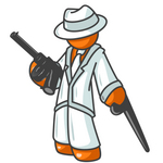 Clip Art Graphic of an Orange Mafia Guy Character In White, Leaning On A Cane And Holding A Gun