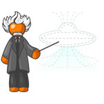 Clip Art Graphic of an Orange Guy Albert Einstein Character Pointing To A Drawing Of A UFO