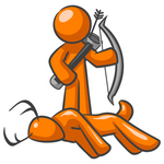 Clip Art Graphic of an Orange Guy Character Holding A Bow And Arrow And Standing By A Dead Deer While Hunting