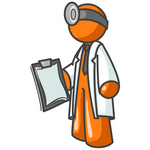Clip Art Graphic of an Orange Guy Character Doctor In A Lab Coat, Holding A Clipboard With A Patient's Charts
