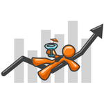 Clip Art Graphic of an Orange Guy Character Drinking A Cocktail And Reclining On An Arrow Over A Bar Graph