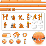 Clip Art Graphic of an Orange Guy Character Web Designer Kit With Tabs, Icons And People
