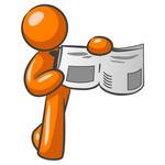 Clip Art Graphic of an Orange Guy Character Holding And Pointing To A Story And Photo In The News