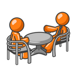 Clip Art Graphic of an Orange Guy Character Having A Casual Discussion With A Friend At A Table