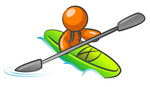 Clip Art Graphic of an Orange Guy Character Kayaking Down A River In A Green Boat