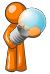 Clip Art Graphic of an Orange Guy Character Holding A Shiny Blue Lightbulb