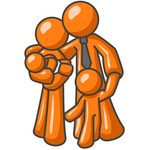 Clip Art Graphic of an Orange Character Family With Two Children, Standing Together