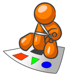 Clip Art Graphic of an Orange Guy Character Sitting And Cutting Shapes Out Of A Sheet Of Paper