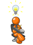 Clip Art Graphic of an Orange Guy Character Writing Down Inventions And Ideas In A Book