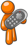 Clip Art Graphic of an Orange Guy Character Holding An Oversized Remote Control