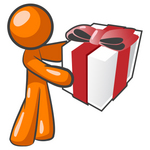 Clip Art Graphic of an Orange Guy Character Holding A Gift Wrapped In White Paper With A Red Bow And Ribbon