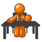 Clip Art Graphic of an Orange Guy Character Bossing People Around While Sitting At His Desk