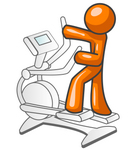 Clip Art Graphic of an Orange Guy Character Getting Exercise On An Eliptical Trainer In A Fitness Gym
