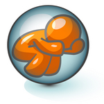 Clip Art Graphic of an Orange Guy Character Trying To Escape From A Tight Bubble