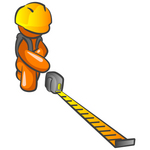 Clip Art Graphic of an Orange Guy Character Crouching And Reading A Tape Measure