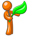 Clip Art Graphic of an Orange Guy Character In A Business Tie, Holding A Large Green Leaf