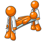 Clip Art Graphic of an Orange Guy Character Being Carried By Paramedics On A Stretcher