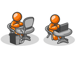 Clip Art Graphic of Orange Guy Characters Working At Different Tables, One With A Laptop, One With A Desktop Computer