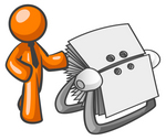 Clip Art Graphic of an Orange Guy Character Wearing A Business Tie And Standing By A Rotary Card File