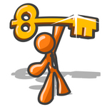 Clip Art Graphic of an Orange Guy Character Proudly Holding Up A Golden Skeleton Key