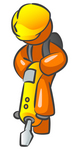Clip Art Graphic of an Orange Guy Character Standing On A Jackhammer While Doing Road Construction