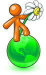 Clip Art Graphic of an Orange Guy Character Dancing With A Daisy Flower On A Green Globe