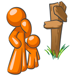 Clip Art Graphic of an Orange Guy Character And Child Standing At A Crossroads Sign