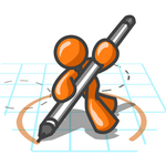 Clip Art Graphic of an Orange Guy Character Drawing A Circle On Graph Paper