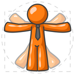 Clip Art Graphic of an Orange Guy Character Doing Jumping Jacks, Resembling The Vitruvian Man By Leonardo Da Vinci